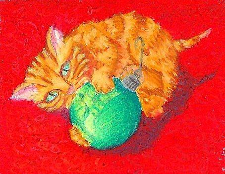 Hvordan Tegn en jule Kitten i oljepastell