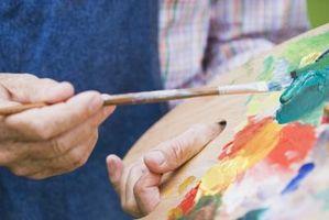 Maleri lage en Camouflage titt på lerret